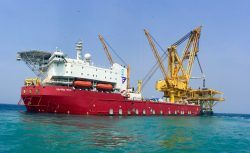 Sapura drill ships over the sea named Sapura 3500